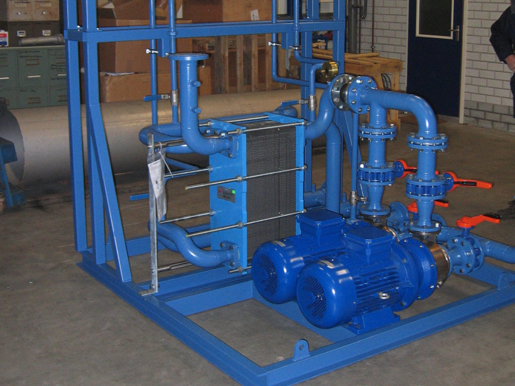 Plate Heat exchanger, Pump Set, Expansion Header Tank, Valving and pipe work skid.